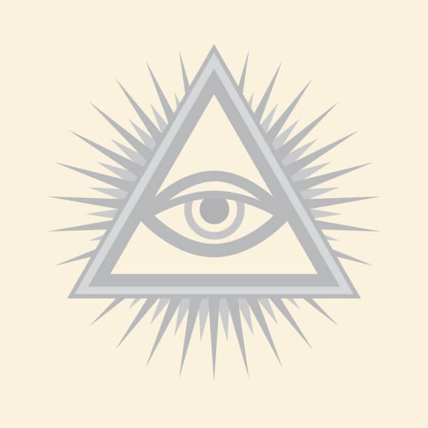all-seeing eye of god (the eye of providence | eye of omniscience | luminous delta | oculus dei). ancient mystical sacral symbol of illuminati and freemasonry. — silver selenium version. - третье око stock illustrations