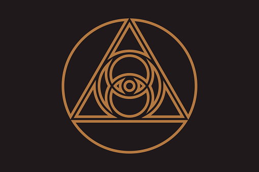 All-seeing eye of god in sacred geometry triangle, masonic sign and illuminati symbol