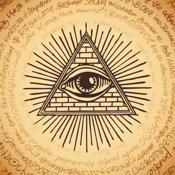 all-seeing eye of god inside triangle pyramid - третье око stock illustrations