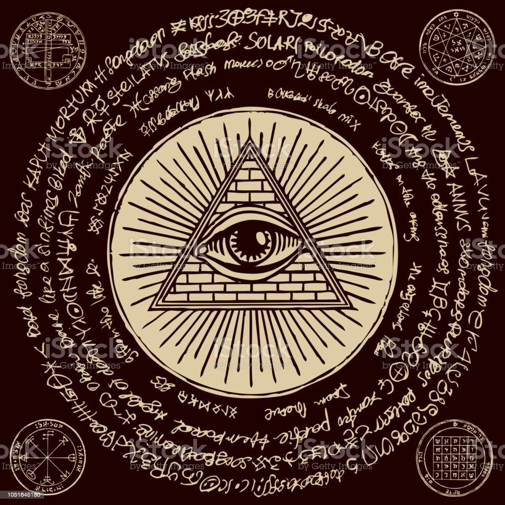 Allseeing Eye Of God Inside Triangle Pyramid Stock