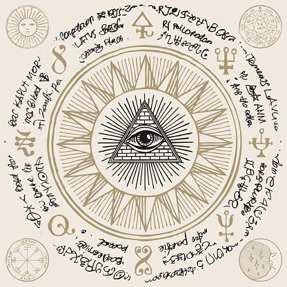 All-seeing eye of God inside triangle pyramid