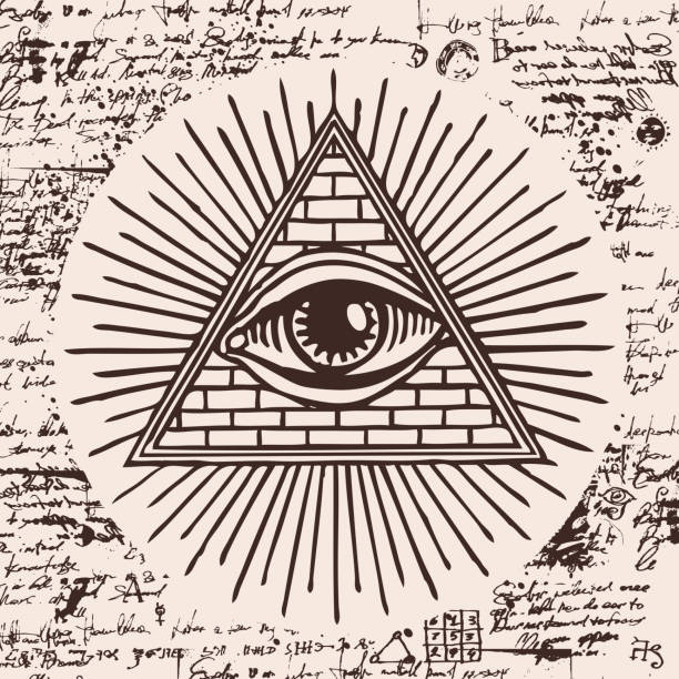 all-seeing eye of god inside triangle pyramid - freemasons stock illustrations