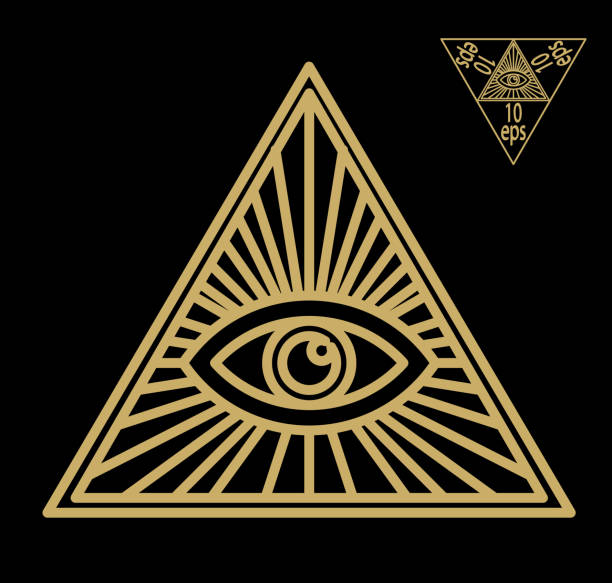 all-seeing eye, or radiant delta - masonic symbol, symbolizing the great architect of the universe, - freemasons stock illustrations