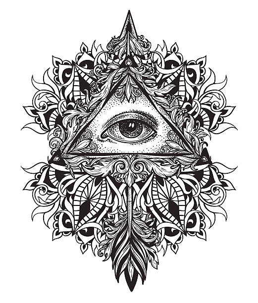 All-seeing eye symbol mystical science of alchemy and Masons vector art illustration