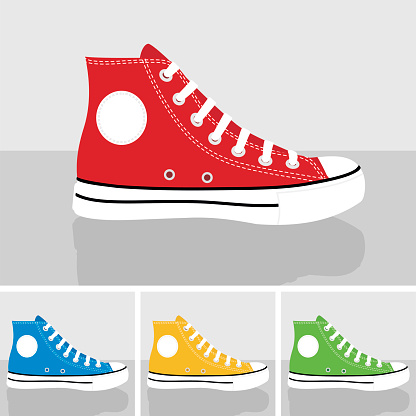 CLASSIC CHUCKS allstar sneakers set illustration vector