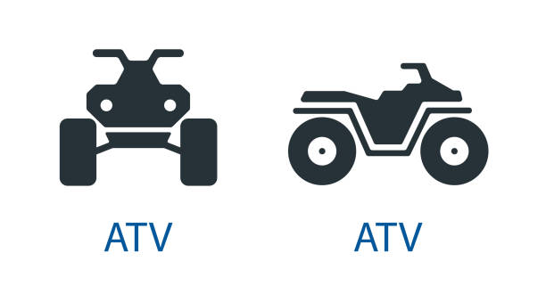 All-terrain vehicle Quad bike atv icon isolated front view off-road motorcycles set vector sign All-terrain vehicle Quad bike atv icon isolated front view off-road motorcycles set vector sign symbol quadbike stock illustrations