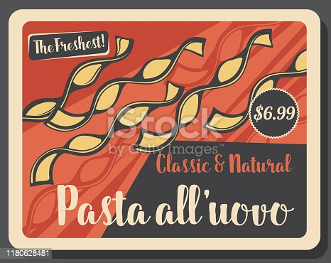 istock All'uovo pasta of egg and semolina retro price tag 1180628481