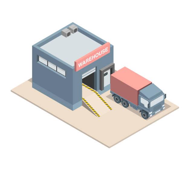 bildbanksillustrationer, clip art samt tecknat material och ikoner med almacén isometrico con muelle de carga y camin. - skatepark