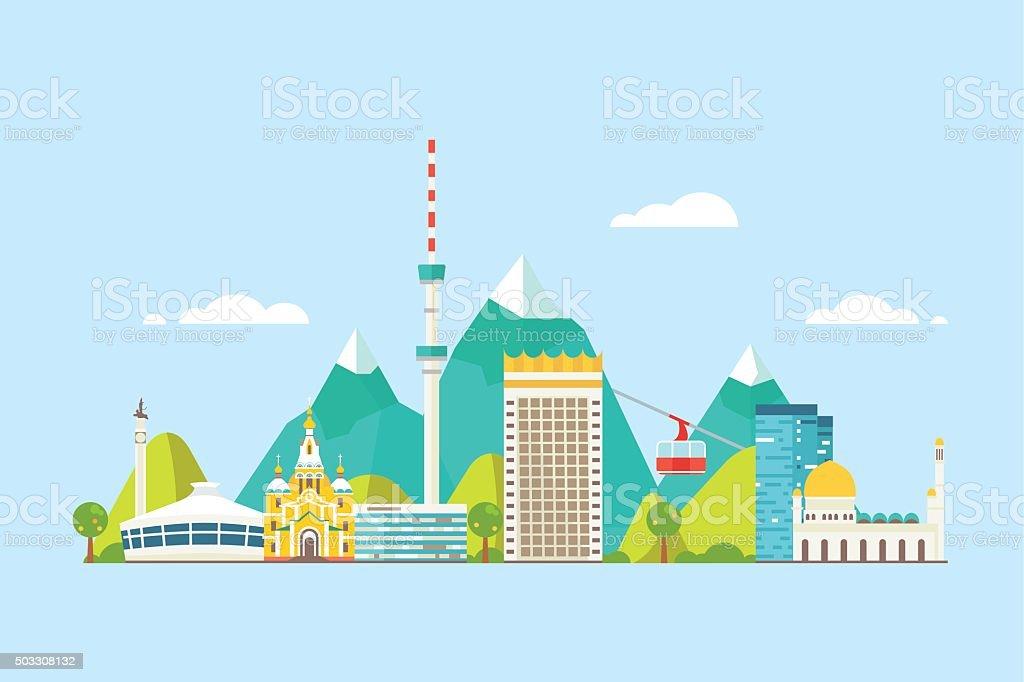 Almaty abstract skyline