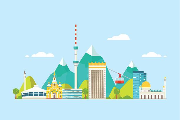 almaty abstrakte skyline - kasachstan stock-grafiken, -clipart, -cartoons und -symbole