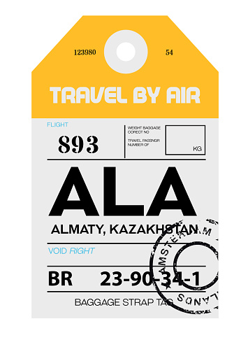 Almaty airport luggage tag