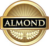 Almond gold round label with a laurel.
