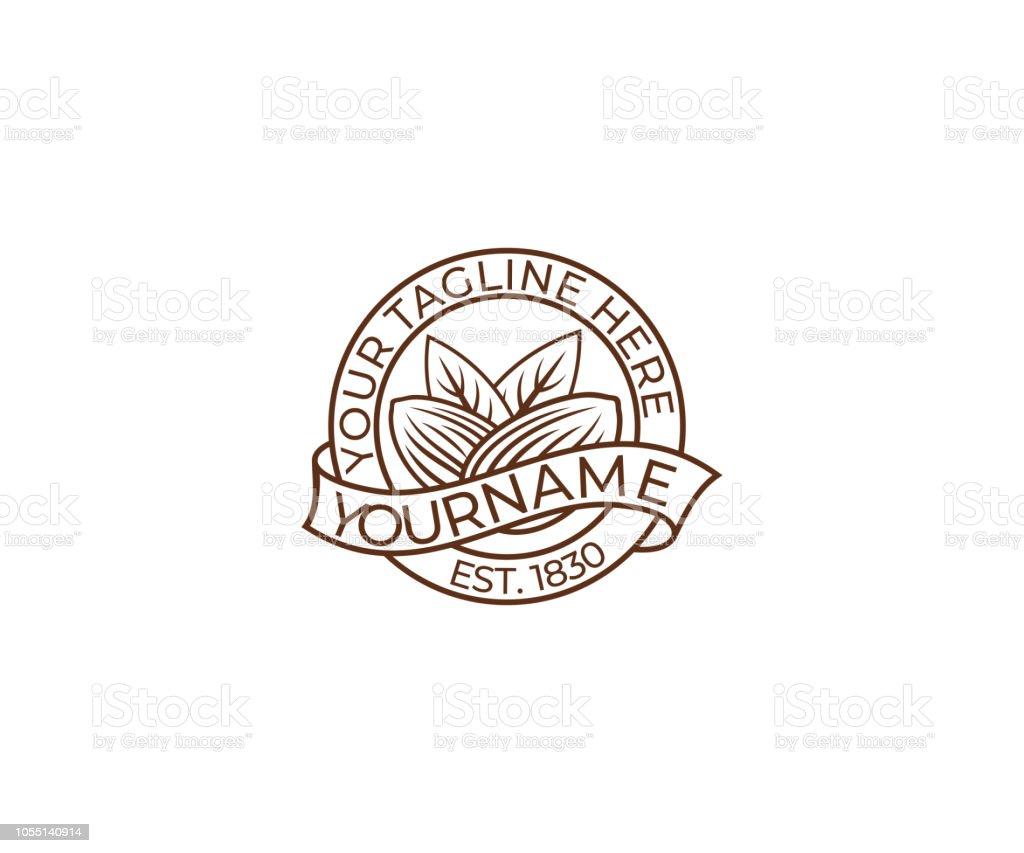Almond logo Design. Plant vector design. Eco food illustration