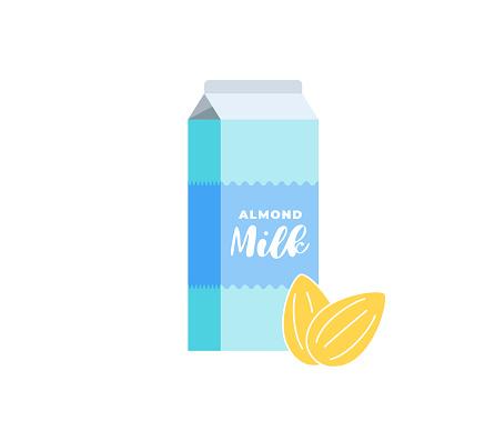 Almond milk cardboard box. Vegetarian lactose free drink package. Healthy vegan nut eco dairy beverage carton packaging. Isolated flat vector illustration