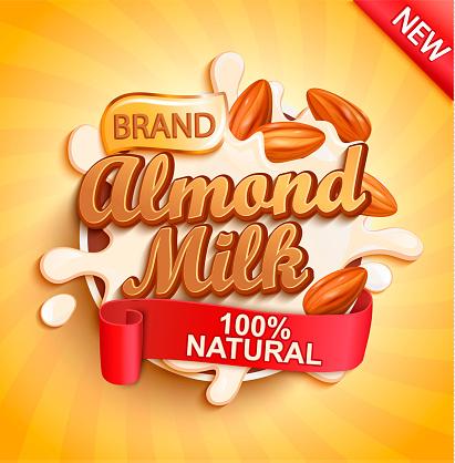 Almond milk with almonds, milky splash.