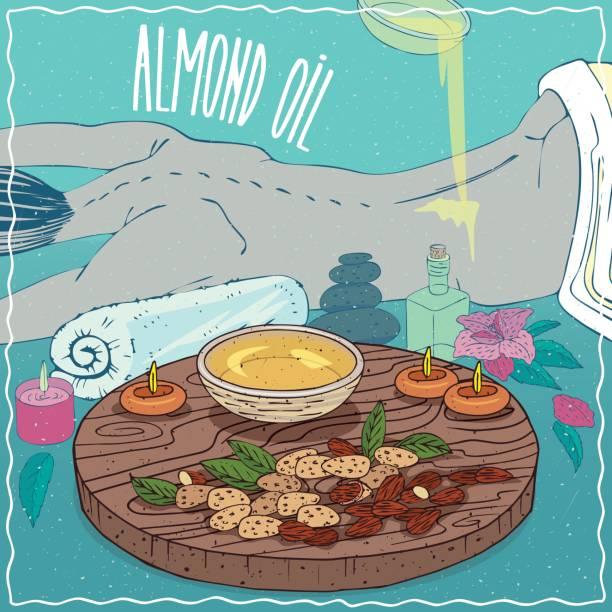 illustrazioni stock, clip art, cartoni animati e icone di tendenza di almond oil used for body massage - china drug