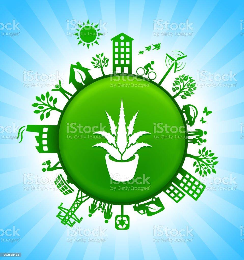 Aloe Plant Environment Green Button Background on Blue Sky - Royalty-free Aloe stock vector