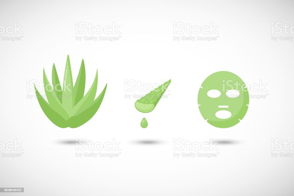 Aloe vera facial mask vector flat icons set, Flat design of medicine, cosmetology and skin care with round shadows, cute vector illustration vector art illustration