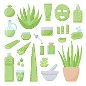 Aloe vera flat vector icons set