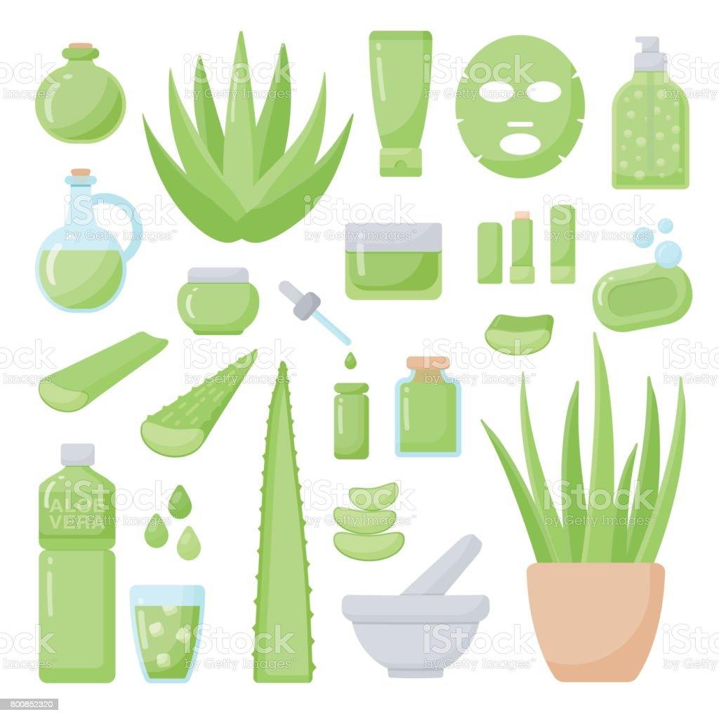 Aloe vera vector plate icônes définies - Illustration vectorielle