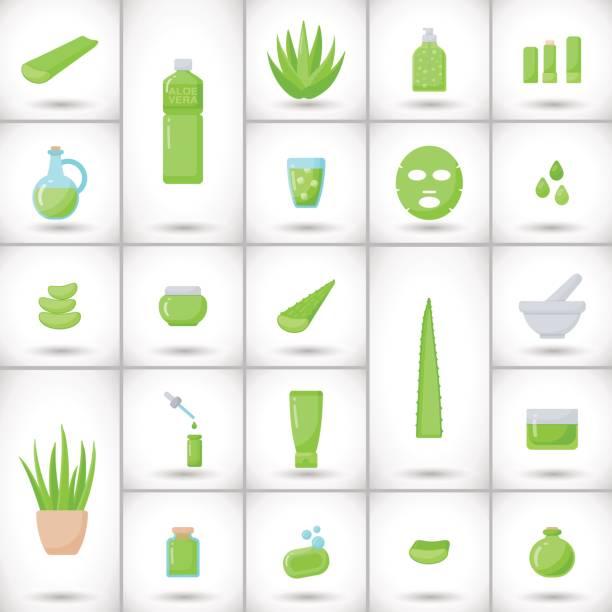 Aloe vera flat vector icons set Aloe vera flat vector icons set, big set of design healthcare and cosmetology objects isolated on the white background with round shadow, vector illustration love potion stock illustrations