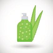 Aloe vera gel in dispenser vector flat icon