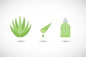 Aloe vera gel vector flat icons set