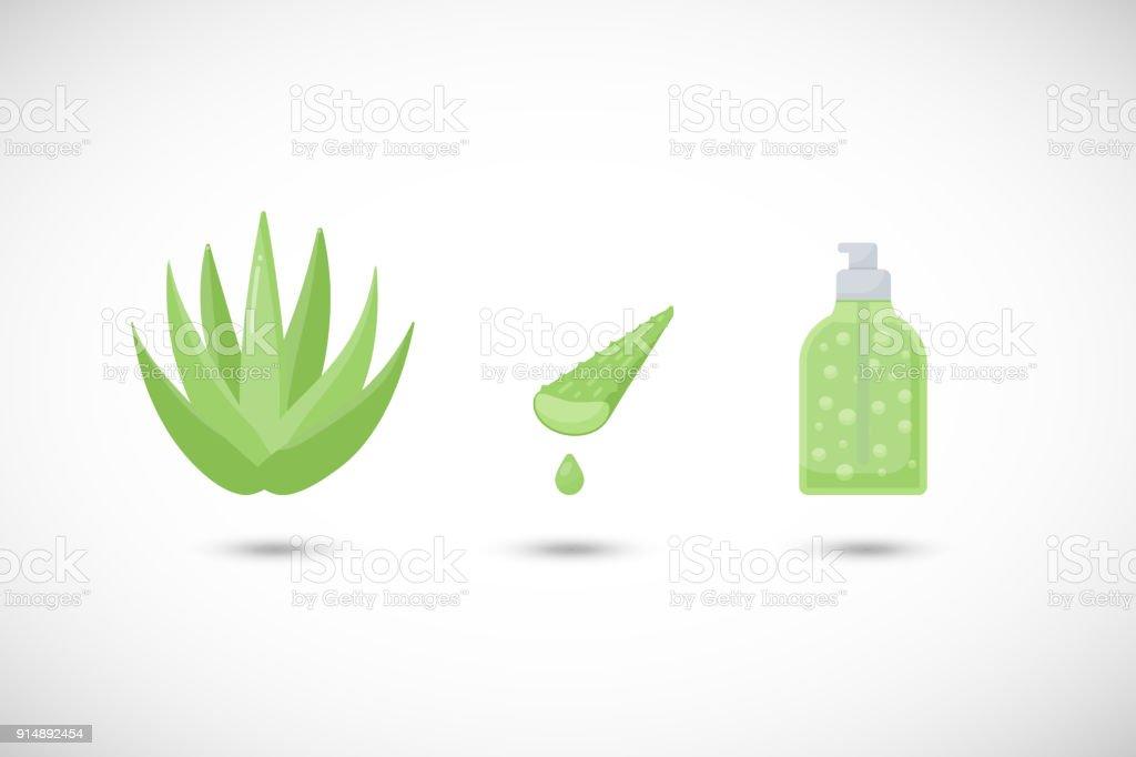 Aloe vera gel vecteur plats icônes définies - Illustration vectorielle