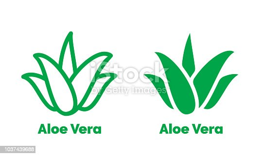 Aloe Vera green icon for natural organic product package label. Isolated Aloe Vera leaf sign for cosmetic or moisturizer cream packaging design template