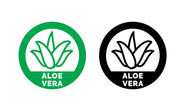 aloe vera green leaf label for natural organic product package. isolated aloe vera leaf circle icon sign for cosmetic or moisturizer cream and skincare lotion packaging design template - aloe vera stock illustrations