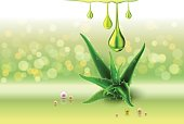 Aloe vera green perls, oil drops, green shiny sparkles