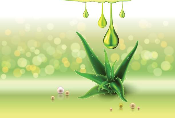 Aloe vera green perls, oil drops, green shiny sparkles vector art illustration