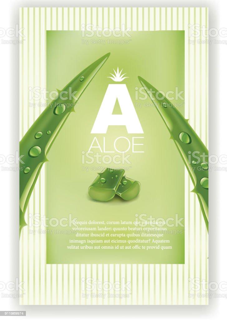 Aloe vera vert brillants paillettes - Illustration - Illustration vectorielle