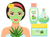 Organic cosmetics with aloe vera juice and young woman with facial mask vector illustration