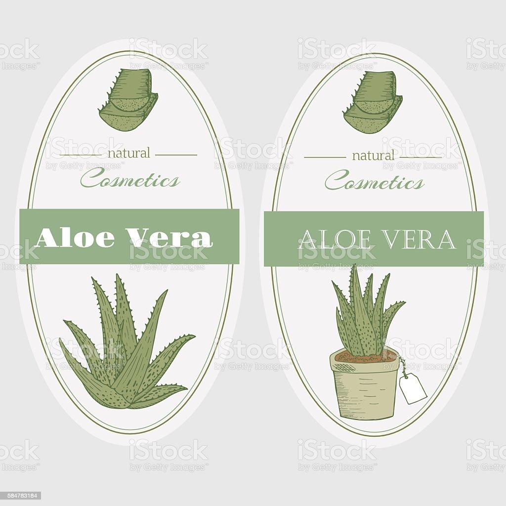 Aloe vera labels - Illustration vectorielle