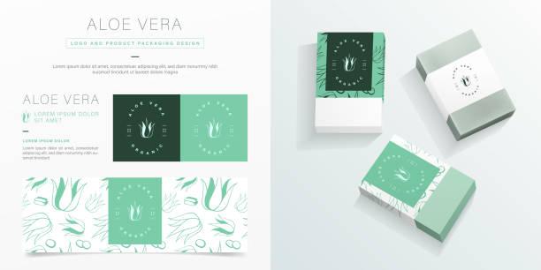 알로에 베라 로고 및 포장 디자인 템플릿. - aloe vera stock illustrations