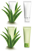 Aloe vera with fresh water drops - design package