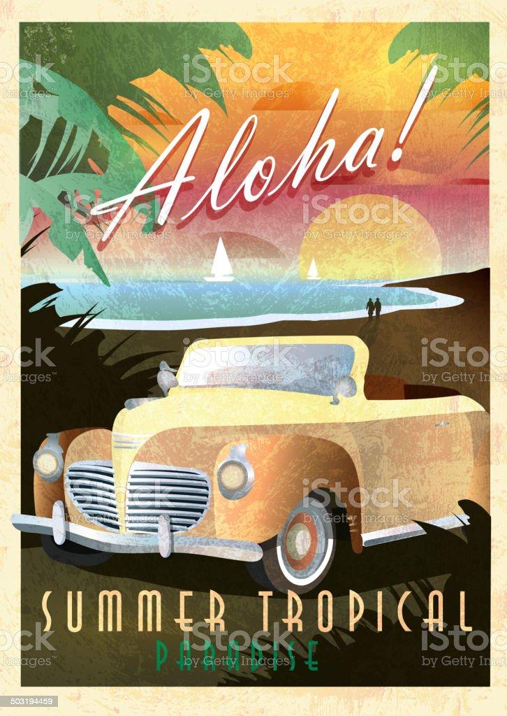 Aloha Art Deco style Paradise classic convertible car poster design vector art illustration