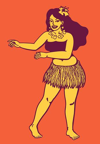 Aloha! Dancing hawaiian hula girl, flower garland, hula dance
