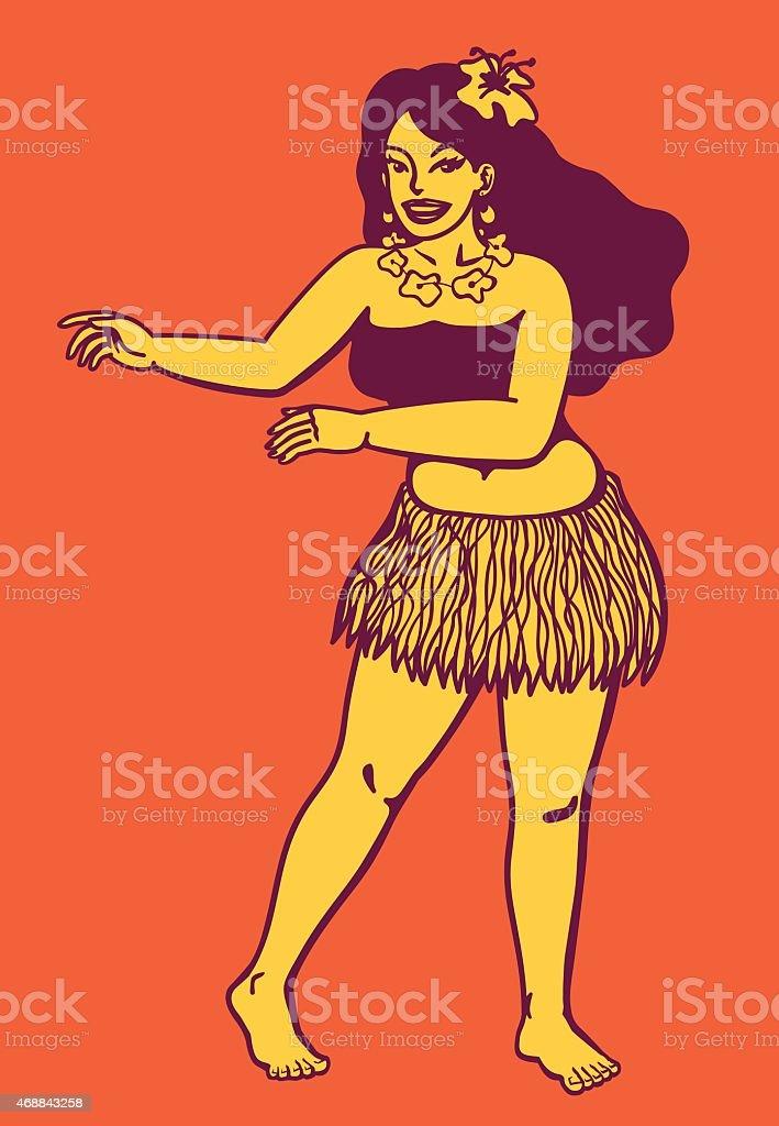 Aloha! Dancing hawaiian hula girl, flower garland, hula dance vector art illustration