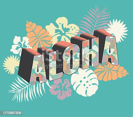 istock Aloha From Hawaii decorative font Postcard typography design 1270997309