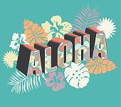 istock Aloha From Hawaii decorative font Postcard typography design 1270997309