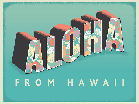 Vector illustration of a Aloha from Hawaii postcard greeting text design. Includes tropical leaf pattern. Easy to edit. Includes vector eps and jpg in download.