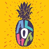 'Aloha' hand lettering in a pineapple silhouette.