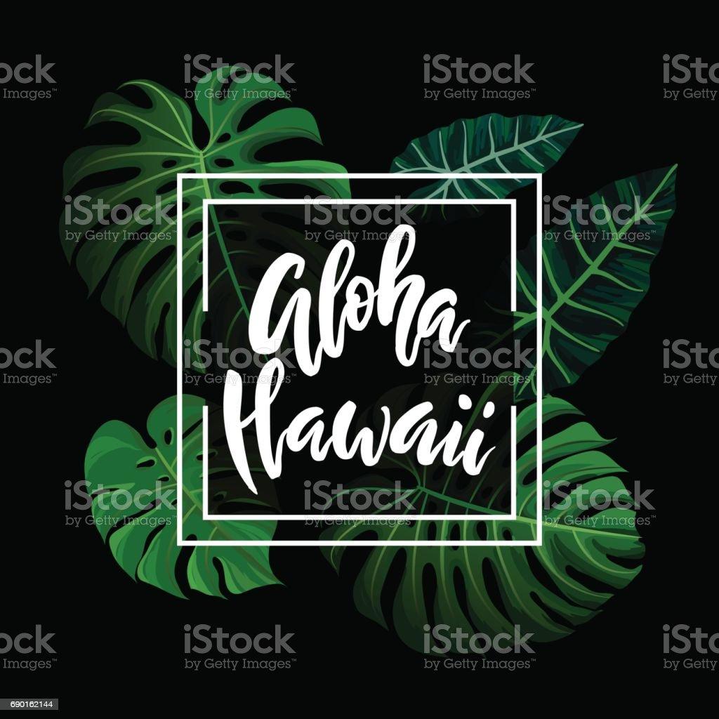 Aloha Hawaii brush lettering. vector art illustration