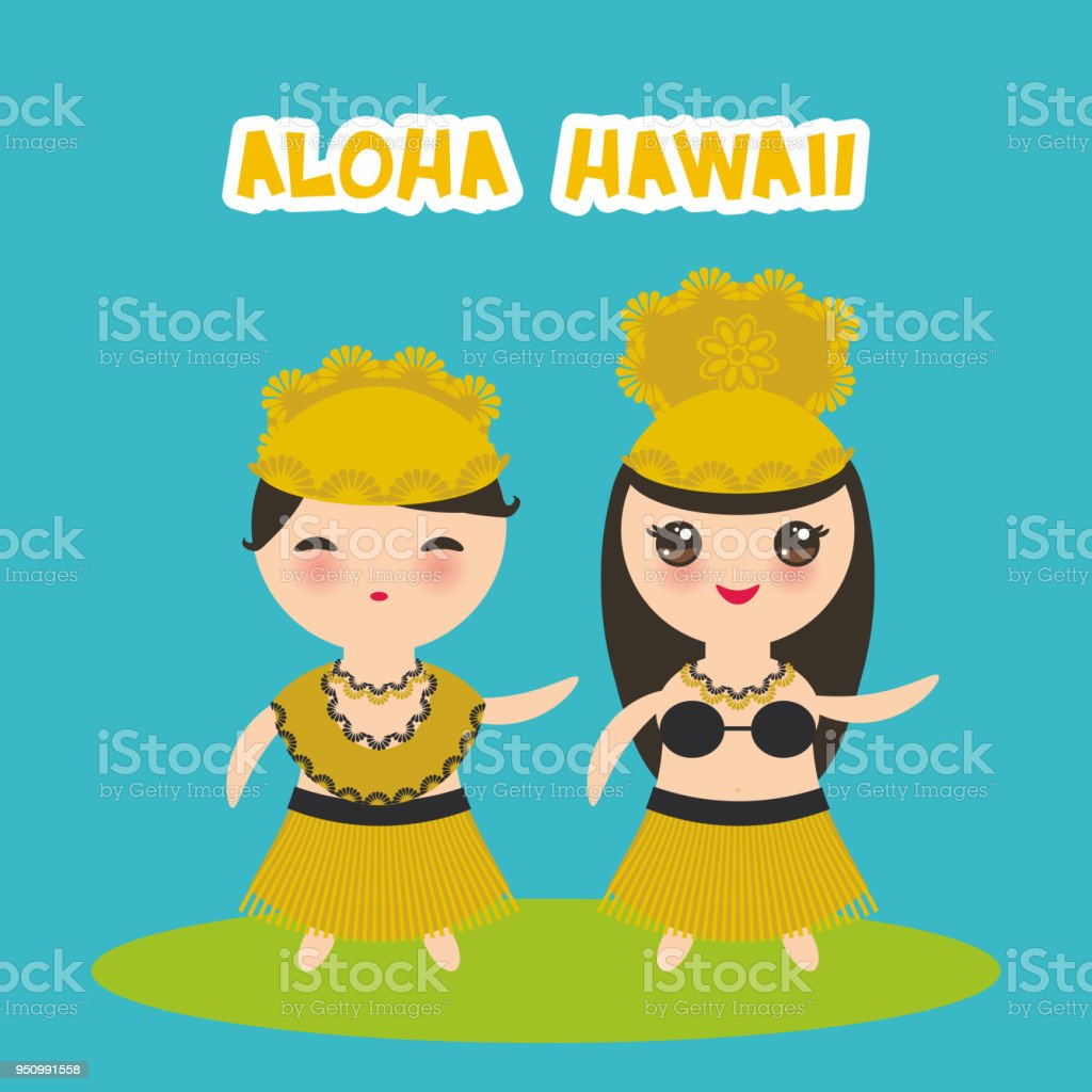 Aloha Hawaii Card Design Hawaiian Hula Dancer Kawaii Boy Girl On Bliue Background Vector Royalty