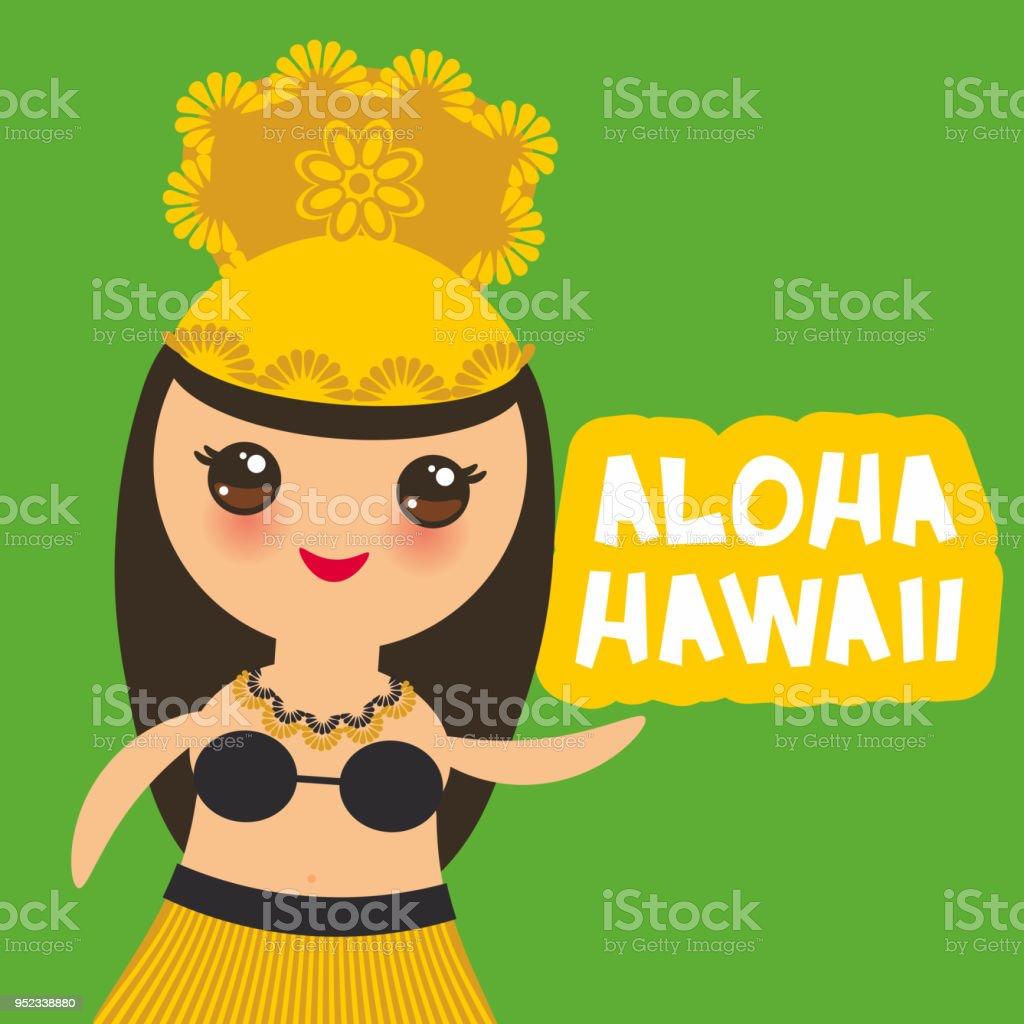 Aloha Hawaii Card Design Hawaiian Hula Dancer Kawaii Girl On Green Background Vector Royalty