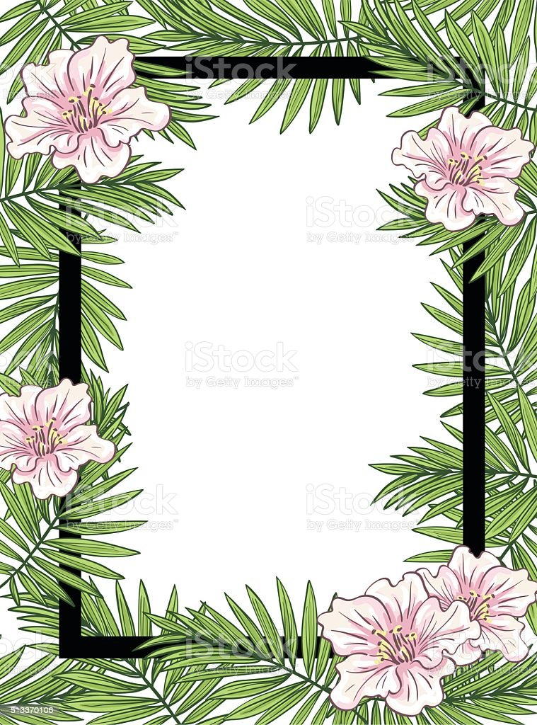 aloha hawaii illustration palm leaves with flowers stock