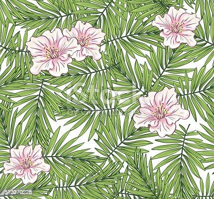 Aloha hawaii illustrazione foglie di palma con fiori for Piani di piantagione hawaiana
