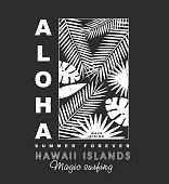 Aloha hawaii islands t-shirt print , vector illustration.